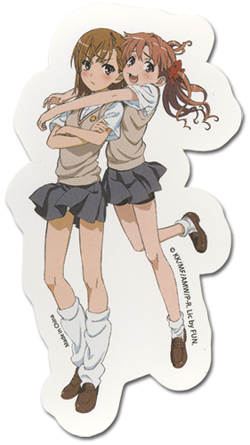 A Certain Scientific Railgun - Kuroko Hugging Mikoto Sticker, an officially licensed A Certain Scientific Railgun product at B.A. Toys.