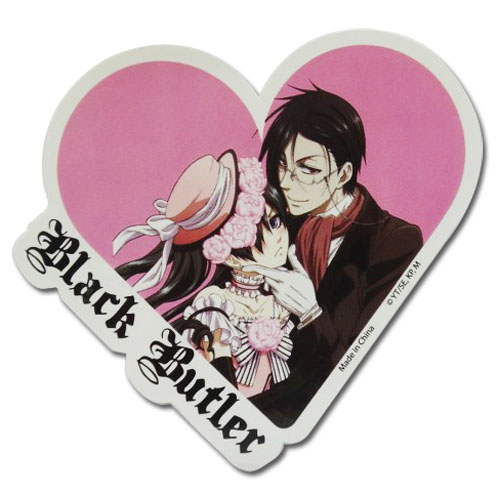 Black Butler - Ciel & Sebastian Heart Sticker officially licensed Black Butler Stickers product at B.A. Toys.