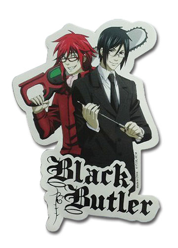 Black Butler - Grell And Sebastian Sensei Sticker, an officially licensed product in our Black Butler Stickers department.