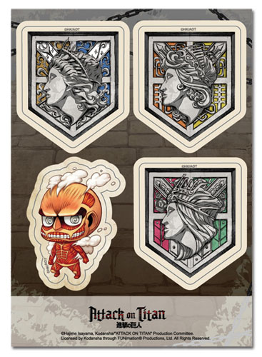 Attack On Titan - Walls & Red Titan Sd Sticker Set officially licensed Attack On Titan Stickers product at B.A. Toys.