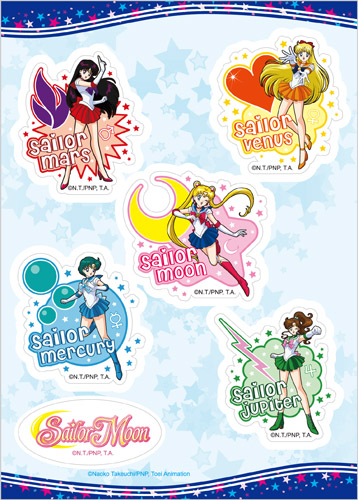 Sailor Moon - Mars, Venus, Mercury And Jupiter Sticker Set, an officially licensed product in our Sailor Moon Stickers department.