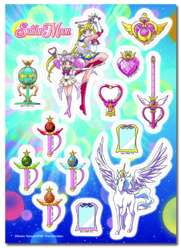 Sailor Moon Supers - Sailor Moon, Chibimoon, Pegasus And Accessories Sticker Set, an officially licensed product in our Sailor Moon Stickers department.