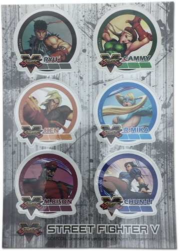 Street Fighter V - Group 002 Sticker Sheet, an officially licensed product in our Street Fighter Stickers department.