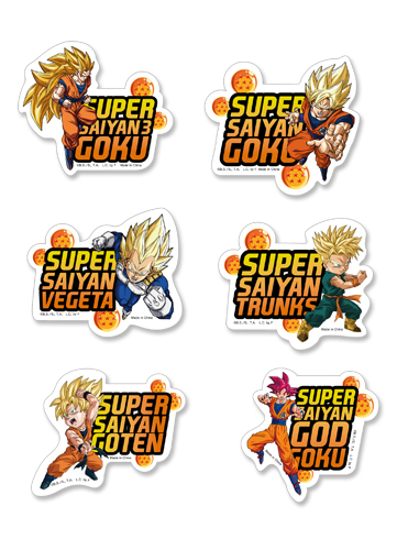 Dragon Ball Super - Super Saiyan Die-Cut Sticker Set, an officially licensed product in our Dragon Ball Super Stickers department.