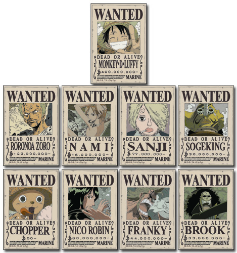 One Piece - Straw Hat Crew Wanted Posters Sticker Set officially licensed One Piece Stickers product at B.A. Toys.