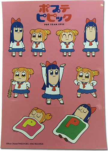 Pop Team Epic - Popuko & Pipimi Part 1 Group Sticker Set officially licensed Pop Team Epic Stickers product at B.A. Toys.