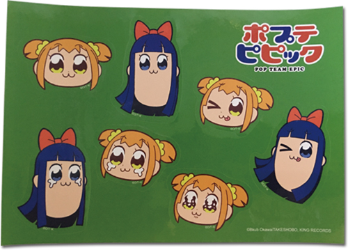 Pop Team Epic - Popuko & Pipimi Pt.2 Group Sticker Set officially licensed Pop Team Epic Stickers product at B.A. Toys.