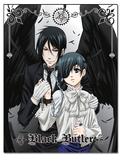 Black Butler - Ciel & Sebastian Black Wings Sublimation Throw Blanket, an officially licensed product in our Black Butler Blankets & Linen department.