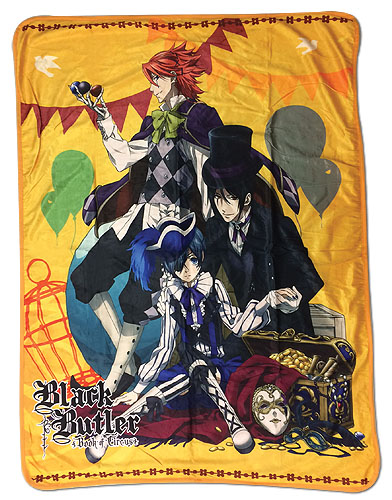 Black Butler B.O.C. - Ciel, Sebastian, And Joker Sublimation Throw Blanket, an officially licensed product in our Black Butler Book Of Circus Blankets & Linen department.