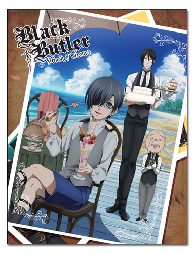 Black Butler - Ciel & Sebastian & Mr. Tanaka Sublimation Throw Blanket, an officially licensed product in our Black Butler Blankets & Linen department.