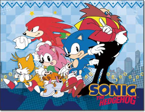 Sonic Classic - City Group Sublimation Throw Blanket officially licensed Sonic Blankets & Linen product at B.A. Toys.