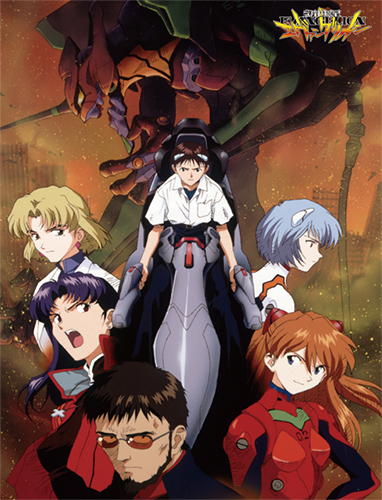 Evangelion - Group In City Sublimation Throw Blanket officially licensed Evangelion Blankets & Linen product at B.A. Toys.