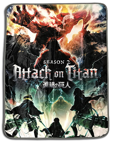 Attack On Titan - Key Art Sublimation Throw Blanket officially licensed Attack On Titan Blankets & Linen product at B.A. Toys.