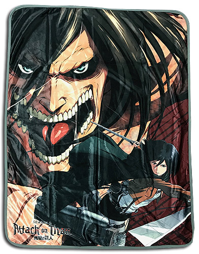 Attack On Titan - Eren & Mikasa Sublimation Throw Blanket, an officially licensed Attack On Titan product at B.A. Toys.