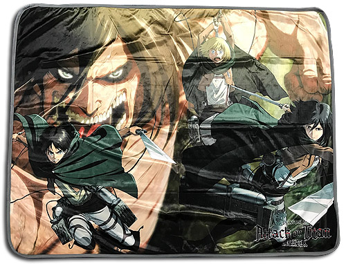 Attack On Titan - Group Fight Sublimation Throw Blanket officially licensed Attack On Titan Blankets & Linen product at B.A. Toys.