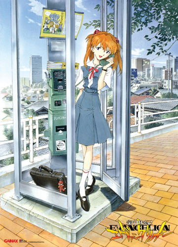 Evangelion Asuka With Phone Booth Wall Scroll, an officially licensed product in our Evangelion Wall Scroll Posters department.