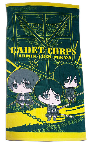 Attack On Titan - Group With Titan Sd Towel, an officially licensed product in our Attack On Titan Towels department.