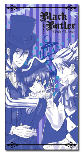 Black Butler B.O.C. - Ciel, Sebastian, And Joker Towel, an officially licensed product in our Black Butler Book Of Circus Towels department.