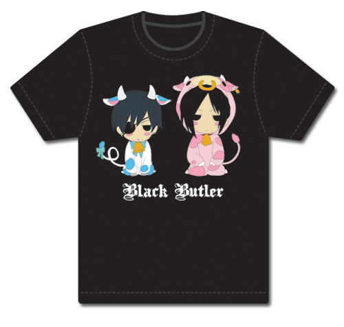 Black Butler Sebastian & Ciel Cow T-Shirt XL, an officially licensed Black Butler product at B.A. Toys.
