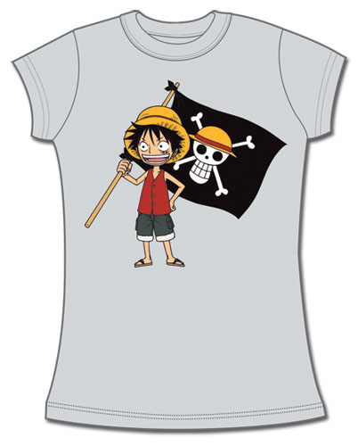 One Piece Luffy And Flag Jrs T-Shirt M, an officially licensed product in our One Piece T-Shirts department.