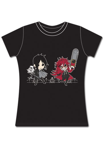 Black Butler Sebastian & Grell Jrs T-shirt S, an officially licensed Black Butler product at B.A. Toys.