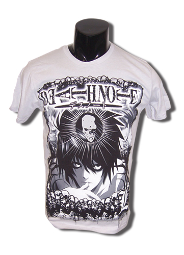 Death Note L With Skull Grey T-Shirt XXL, an officially licensed product in our Death Note T-Shirts department.