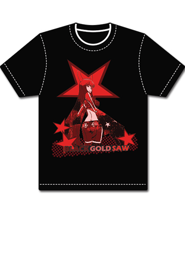 Black Rock Shooter - Black Gold Saw Stars T-shirt L officially licensed Black Rock Shooter T-Shirts product at B.A. Toys.