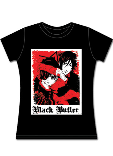 Black Butler Christmas Ciel & Sebastain Jrs T-Shirt XXL, an officially licensed Black Butler product at B.A. Toys.