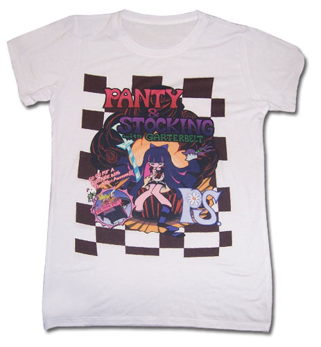 Panty & Stocking - Checkered Jrs T-Shirt L officially licensed Panty & Stocking T-Shirts product at B.A. Toys.
