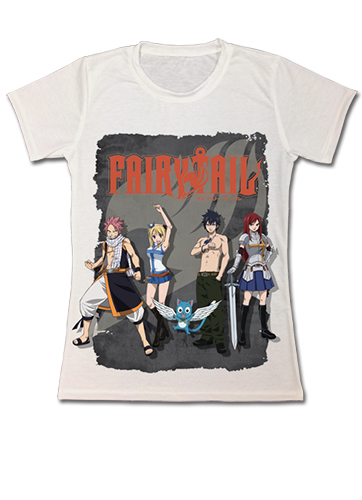 Fairy Tail Beach Group Dye Sublimation Jrs T-Shirt L, an officially licensed product in our Fairy Tail T-Shirts department.