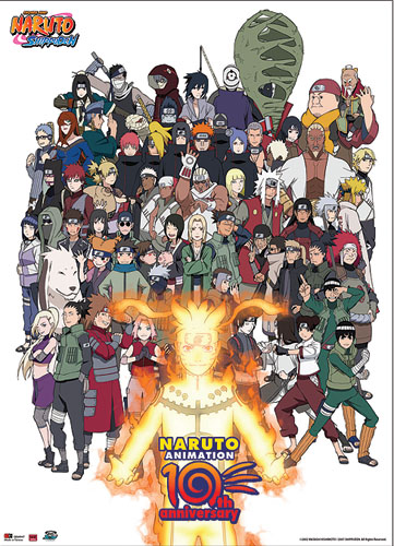 Naruto Cast 10Th Anniversary Wallscroll, an officially licensed product in our Naruto Wall Scroll Posters department.