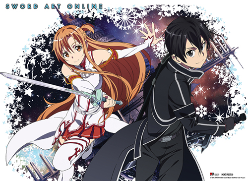 Sword Art Online - Kirito & Asuna Burst Wall Scroll, an officially licensed product in our Sword Art Online Wall Scroll Posters department.
