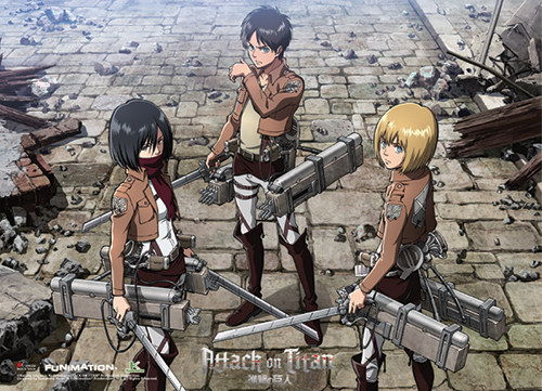 Attack On Titan - Eren, Mikasa And Armin Group Wallscroll officially licensed product at B.A. Toys.