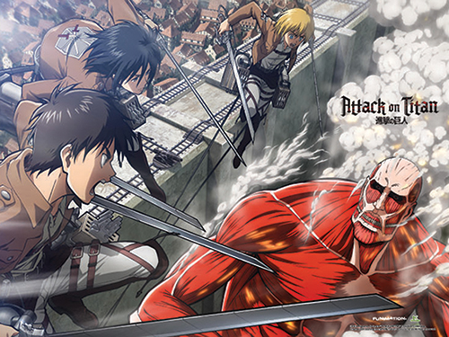 Attack On Titan - Group Wall Scroll, an officially licensed Attack On Titan product at B.A. Toys.