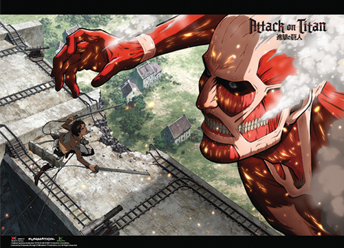 Attack On Titan - Eren V 50M Titan Wallscroll, an officially licensed Attack On Titan product at B.A. Toys.