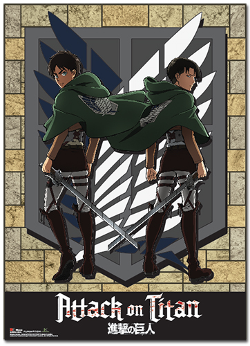 Attack On Titan - Eren And Levi Wallscroll officially licensed product at B.A. Toys.