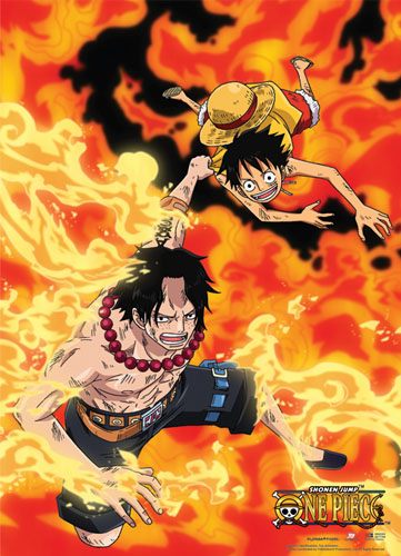 One Piece - Luffy & Ace In Flames Wallscroll officially licensed product at B.A. Toys.