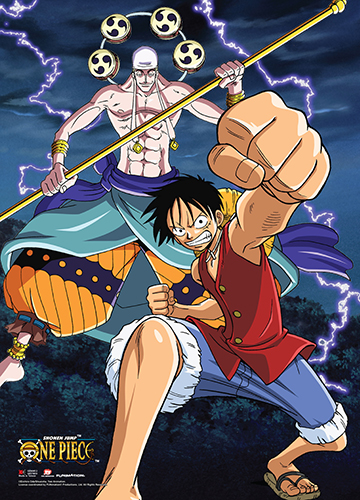 One Piece - Luffy & Enel Wall Scroll, an officially licensed product in our One Piece Wall Scroll Posters department.