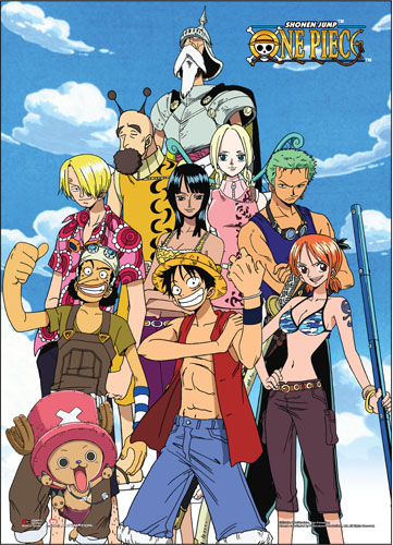 One Piece - Straw Hat Pirates & Skypiean Friends Wall Scroll, an officially licensed product in our One Piece Wall Scroll Posters department.