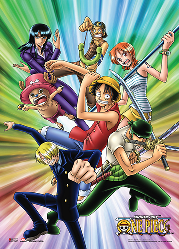 One Piece - Straw Hat Pirates Color Burst Background Wall Scroll, an officially licensed product in our One Piece Wall Scroll Posters department.