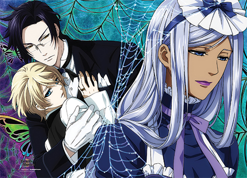 Black Butler 2 - Claude, Aloi And Hannah Wall Scroll, an officially licensed Black Butler product at B.A. Toys.