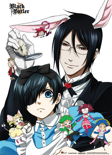 Black Butler 2 - Bunny Sebastian & Ciel Wall Scroll, an officially licensed Black Butler product at B.A. Toys.