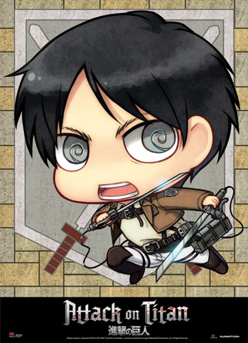 Attack On Titan - Sd Eren Wallscroll, an officially licensed Attack On Titan product at B.A. Toys.