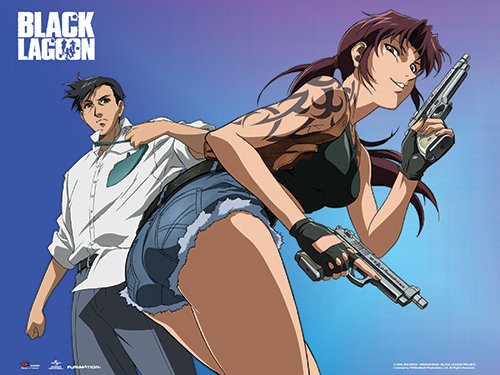 Black Lagoon - Revy & Rock Wall Scroll, an officially licensed Black Lagoon product at B.A. Toys.