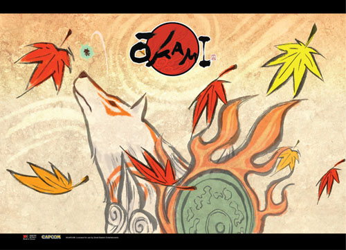 Okami - Amaterasu Autumn Wallscroll officially licensed Okamiden Wall Scroll Posters product at B.A. Toys.