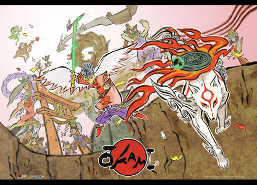 Okami - Group Shot Wallscroll officially licensed Okamiden Wall Scroll Posters product at B.A. Toys.