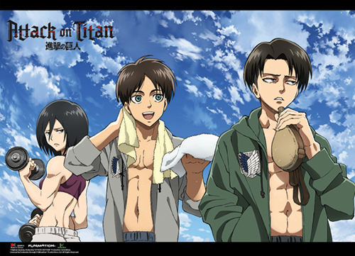 Attack On Titan - Fitness Group Wallscroll, an officially licensed product in our Attack On Titan Wall Scroll Posters department.