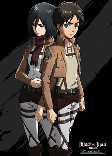 Attack On Titan - Eren And Mikasa Wallscroll officially licensed product at B.A. Toys.