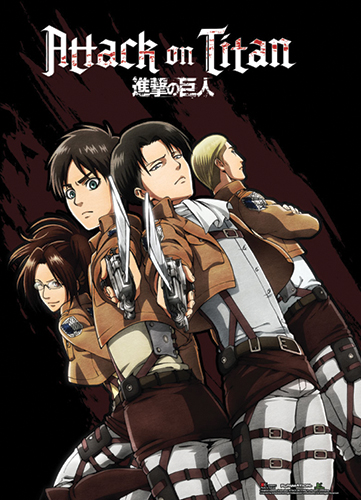Attack On Titan - Hanji, Eren, Levi And Reiner Wallscroll, an officially licensed Attack On Titan product at B.A. Toys.