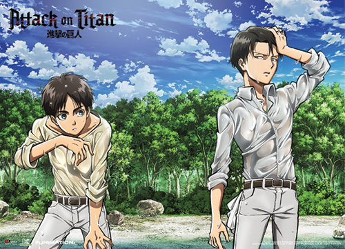 Attack On Titan - Eren And Levi On The Shore Special Edition Wallscroll, an officially licensed Attack On Titan product at B.A. Toys.